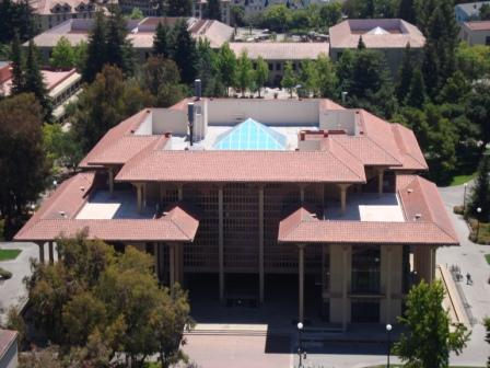 Henry J. Meyer Memorial Library, as viewed from Hoover Tower, Stanford University. Photo: Casey Mullin